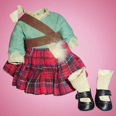 Vintage 1930 Original Madame Alexander Scottish Doll Outfit