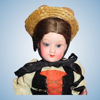 Antique German 10 Inch Painted Bisque Armand Marseille 390 Doll In Greek Costume