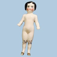 Antique German China Doll With Gold Shoes