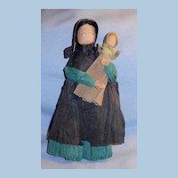 Vintage Pennsylvania Artist Signed Crepe Paper Doll