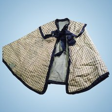 Antique Blue Silk Plaid Doll Cape