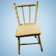 Antique Painted Green Red and Gold Wood Doll Chair