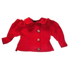 Antique Red Wool Lon Sleeve Fitted Doll Jacket