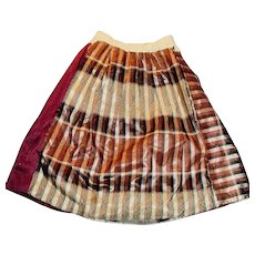 Antique Silk Plaid Cotton Lined Hand Stitched Doll Skirt