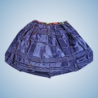 Antique Navy Blue Moire Silk Doll Skirt