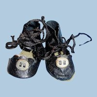 Vintage Black Oilcloth Ankle Tie Doll Shoes