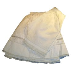 Antique Matching White Cotton With Lace Doll Slip And Underpants