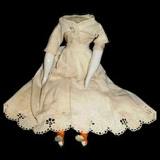 Antique China Doll Cloth Body With Orange Boots