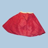 Antique Red Silk Hand Stitched Doll Skirt