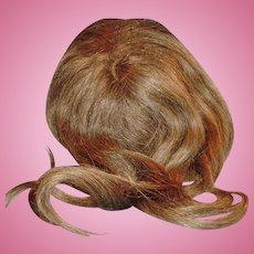 Long Brown Human Hair Doll Wig