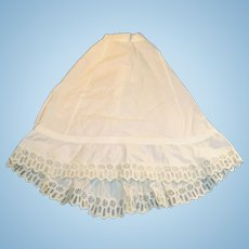 Antique White Cotton Fashion Half Slip With Train