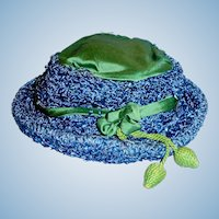 Antique Green Silk Highlight And Blue Straw Doll Hat