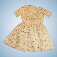 Antique Cotton Flower Calico Doll Dress
