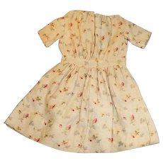 Antique Cotton Flower Calico Doll Dress