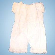 Antique One Piece White Cotton And Lace Doll Underwear