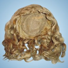 Antique Large German Light Brown Long Curl Mohair Doll Wig