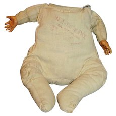 Antique 1924 German Cloth With Celluloid Hands Bye Lo Baby Doll Body