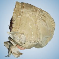 Antique Silk Embroidered Cream Color Fancy Doll Bonnet