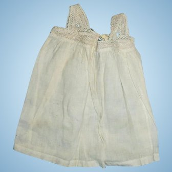 Antique White Cotton And Lace Doll Pinafore