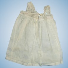 White Cotton And Lace Antique Doll Pinafore