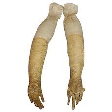 Antique Cloth And Leather Doll Arms