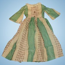 Antique Linsey Woolsey Zig Zag Print Doll Dress