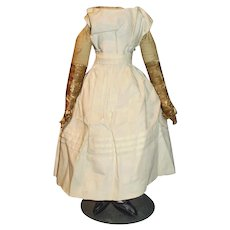 Antique Cloth Doll Body With Leather Arms With Underwear