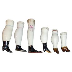 Six Various Size Antique Single Lower China Doll Legs
