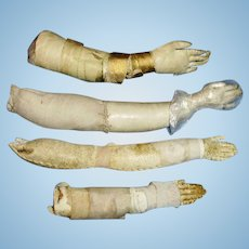 Antique Single Leather Lower Doll Arms