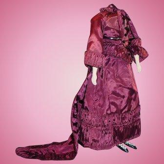 Vintage Cloth Doll Body Wearing Fancy Dress