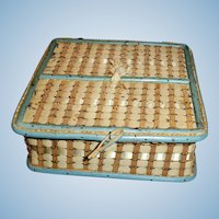 Antique Woven  Wood And Blue Trim Doll Basket