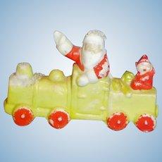 Antique Waving Santa On Train All Bisque Japan Snow Figure Doll