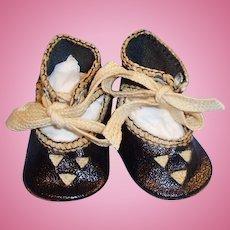 Antique Size 1 Black Oilcloth Ankle Tie Doll Shoes