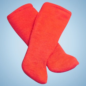 Antique Long Red Cotton Doll Socks