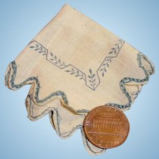 Antique Fashion Doll Blue Embroidered Handkerchief