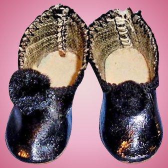 Antique Black Size 0 Doll Shoes