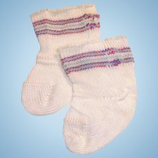 Vintage White Striped Cotton Doll Socks