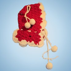 Antique Red And White Wool Crochet Knit Doll Hood