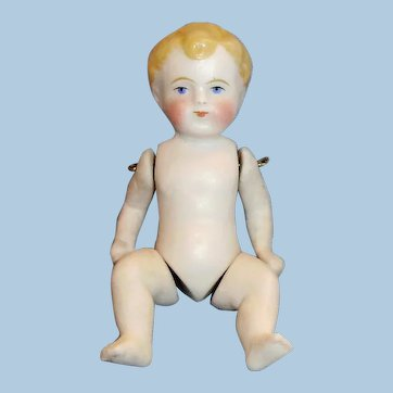 """4"""" Antique German Pin Jointed All Bisque Doll"""