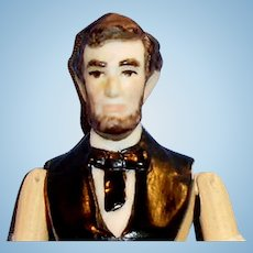 Vintage Sherman Smith Jtd Wood Bisque Head Abe Lincoln Doll