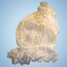 Antique White Cotton Eyelet Doll Bonnet