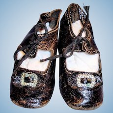 Antique German Size 6 Black Leather Doll Shoes