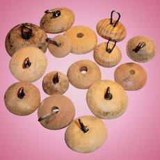 15 Antique Wooden Neck Buttons For Stringing Bisque Dolls