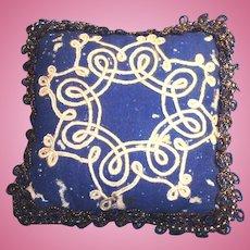 Antique White Soutache Braid On Blue Wool Doll Pillow