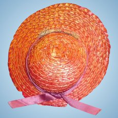 Vintage 1950s Red Straw Doll Hat