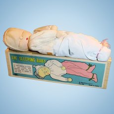 Vintage Japan 1960s Cloth Sleeping Baby Shackman NY