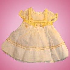 Vintage High Waist White Cotton Yellow Doll Dress