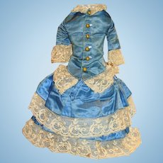 Antique Fancy Two Piece French Blue Silk And Lace Doll Suit