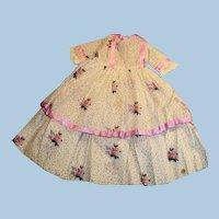 Vintage Long Purple Trim Floral Print Doll Dress