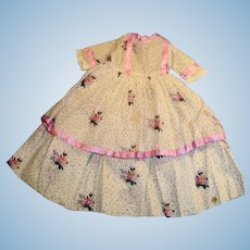 Vintage Long Purple Trim Floral Print Doll Dress